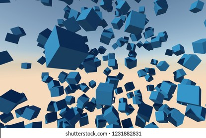 Flying blue cubes 3d abstract background