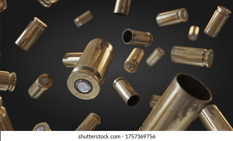 Flying bullet shells on a black studio background.	Photorealistic 3D illustration. Empty. War, conflict ammo supply