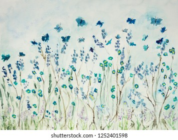 Flying butterflies in lavender field. The dabbing technique near the edges gives a soft focus effect due to the altered surface roughness of the paper.