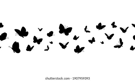 Flying butterflies silhouettes. Butterfly seamless border. Black forest and garden insects pattern