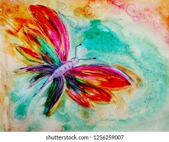 Flying butterfly painted with bright colors. The dabbing technique near the edges gives a soft focus effect due to the altered surface roughness of the paper.