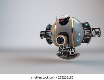 Flying camera drone. Robot. Droid.