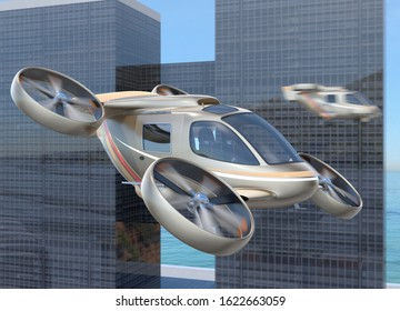 Flying car ( air taxi) flying in the sky. Highway and urban building on the background. 3D rendering image.
