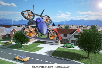 Flying Car, Air Vechicle Flying Above A Solar Powered City,  Futuristic Car Concept, 3D Rendering