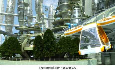 Flying car on a background of a fantastic city