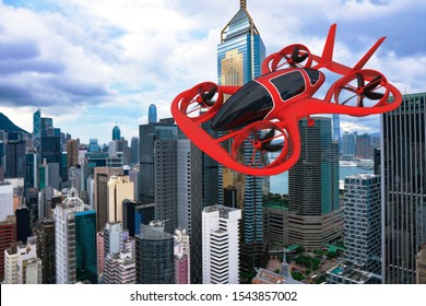 Flying Car, Pesonal Air Vehicle Flying Above The Cityscape, Flying Car Of The Future 3d Concept, Futuristic Vehicle In The City, Air Car Concept - 3D Rendering