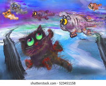 Flying cats at abstract background