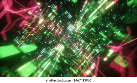 Flying in the chaotic technological futuristic space tunnel. Animation for music videos, nightclubs, audiovisual shows and performance, LED screens and projection cards. 3d illustration