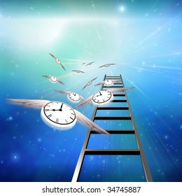 Flying Clocks and Ladder lead into Sky