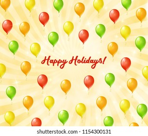 Flying colored balloons. Greeting card with balloons and sunlight background. Happy holidays greeting card.