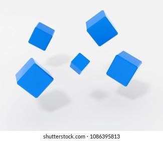 flying cubes - rendered 3d illustration