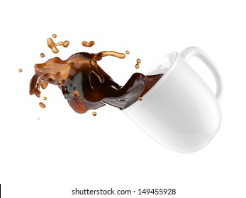 flying cup of coffee, top view