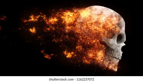 Flying demon skull in flames - 3D Illustration