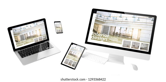 flying devices with interior design website responsive design 3d rendering