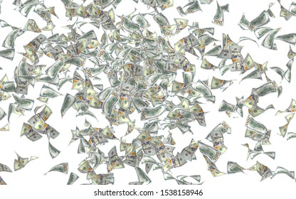 Flying dollars banknotes isolated on white background. Money is flying in the air. 100 US banknotes new sample. 3D illustration