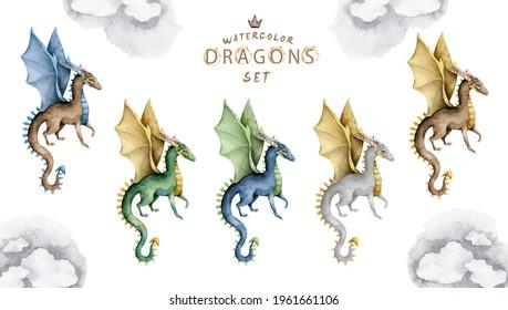 Flying dragon colorful set. Magic isolated cartoon hand drawn illustration on white background