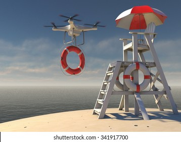 Flying Drone with lifebuoy leaving Lifeguard Tower