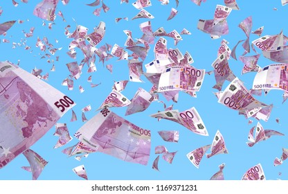 Flying euro banknotes isolated on a blue background. Money is flying in the air. 500 EURO in color. 3D illustration
