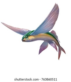 Flying fish yellow green  jumping and flying on white