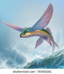 Flying fish yellow green jumping and flying