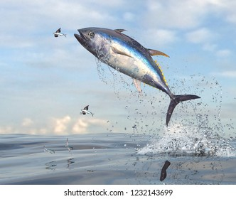 Flying fishes running away from yellow tail tuna fish 3d Render