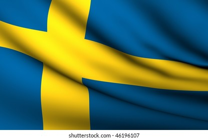 Flying Flag of Sweden | All Countries Collection |