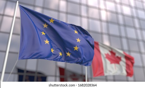 Flying flags of the Eropean Union and Canada in front of a modern skyscraper. 3D rendering