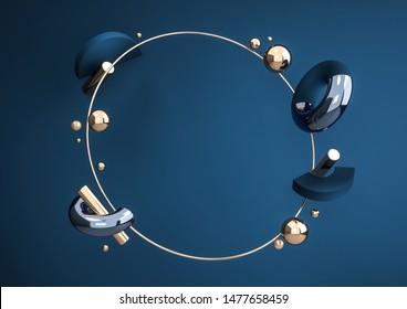 金色の丸い枠で動く幾何学的な形状。リアルな球、リング、チューブのダイナミックセット。製品デザインの現代の背景に濃い青の色が表示されます。3Dレンダリングイラスト。