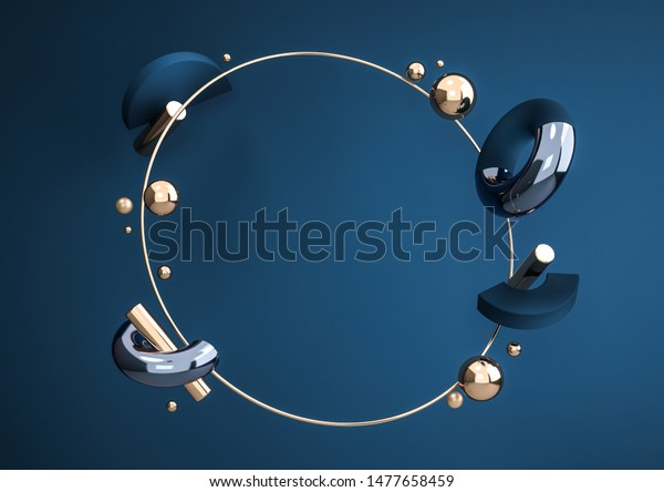 Flying geometric shapes in motion with golden round frame. Dynamic set of realistic spheres, rings, tubes. Modern background for product design show in dark blue color. 3d render illustration.