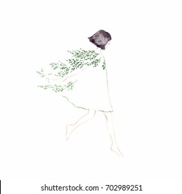 Flying girl on white background. Spring girl - illustration. Watercolor background. Mother's greeting card. Valentine's day background.