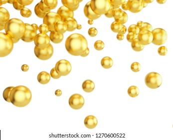 Flying gold particles isolated on white background. 3d illustration