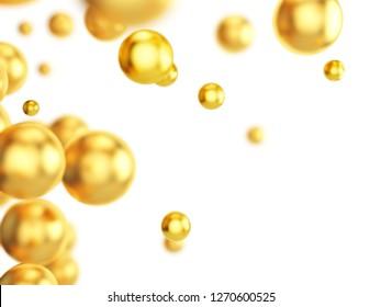 Flying gold spheres on white background. 3d illustration