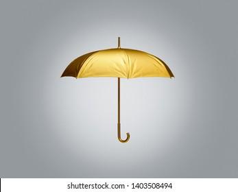 Flying golden umbrella isolated on white background. 3D rendering model illustration