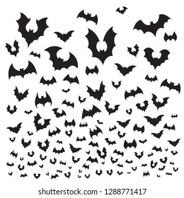Flying halloween bat. Cave bats flock silhouette fly at sky. Scary dark vampire flittermouse, gothic spooky evil horror for october holiday decoration  background illustration