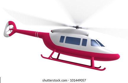 Flying Helicopter, isolated on white, 3d render