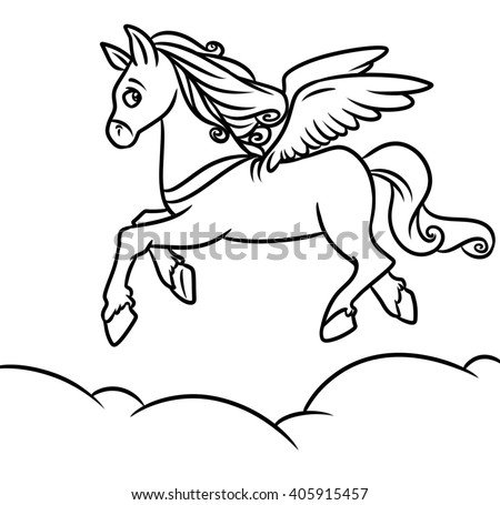Flying Horse Pegasus Coloring Pages Cartoon Stock Illustration