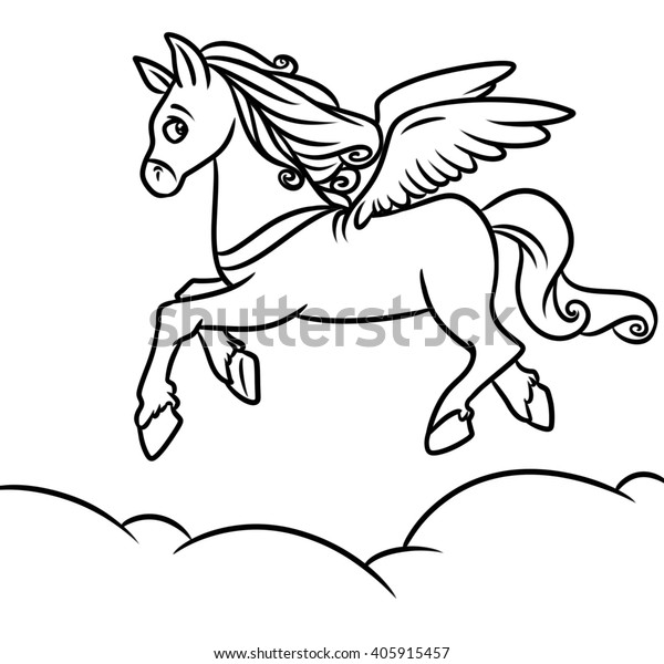 Flying Horse Pegasus Coloring Pages Cartoon ...