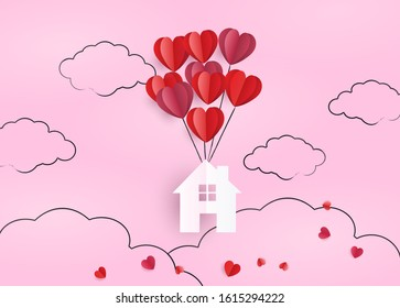 flying House with hearts. Happiness Loving House paper cut