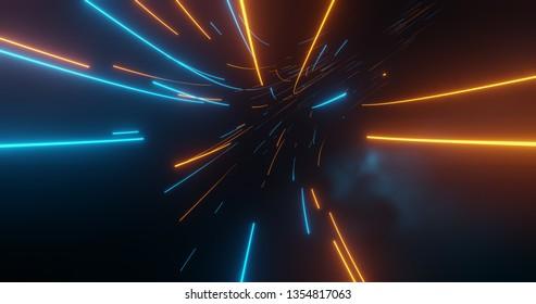 Flug in den digitalen Technologietunnel. Futuristische Technologie abstrakter Hintergrund mit Linien für Netzwerk, Big Data, Rechenzentrum, Server, Internet, Geschwindigkeit. 3D-Darstellung