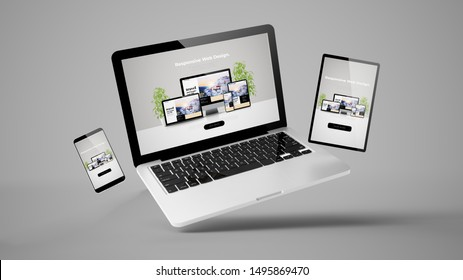 flying laptop, mobile and tablet 3d rendering showing  responsive web design