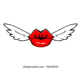 FLYING LIPS. Red lips with wings.