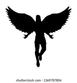 Flying man angel silhouette mythology symbol fantasy tale. JPG illustration.