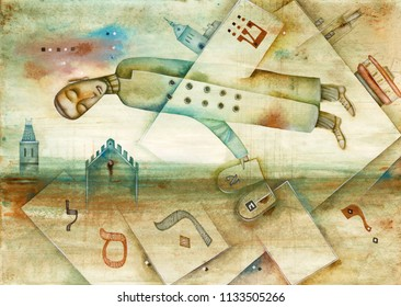 Flying man and jewish letters