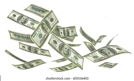 Flying money isolated on a white background. 3d illustration