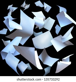 Flying paper sheets, flying pages