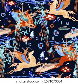 Flying pegasus with a girl. On the night sky pegasus with wings pattern. Ornament in the ancient Greek style with clouds and water lilies, plants on a dark blue background. Bright horses.