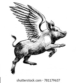 Flying pig. Black and white ink illustration