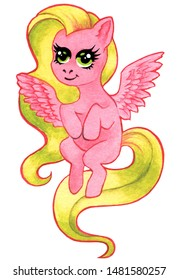 Flying pink horse, Fairy tale character for children's illustration, flying Pegasus with pink wings, long developing hair, mane and tail, on white background. Hand-drawn watercolor for printing on clo