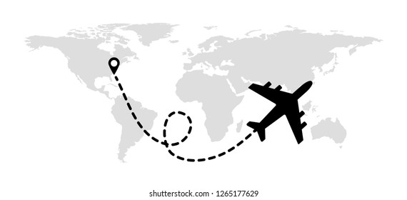 Flying plane on the background of the world map with a path from the departure point.