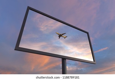 flying plane in the reflection of a billboard, 3d illustration